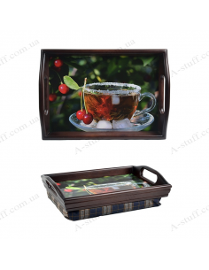 "Tray on a pillow with handles ""Tea with ice"""