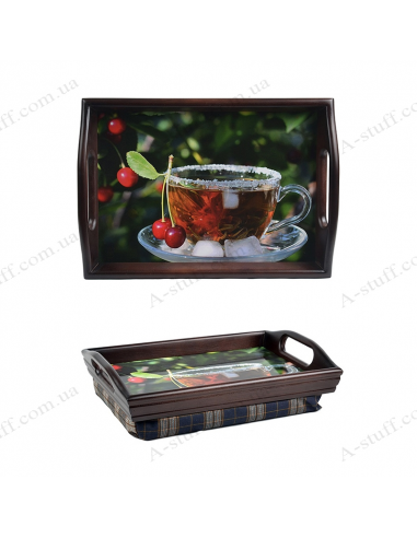 """Tray on a pillow with handles """"Tea with ice"""""""