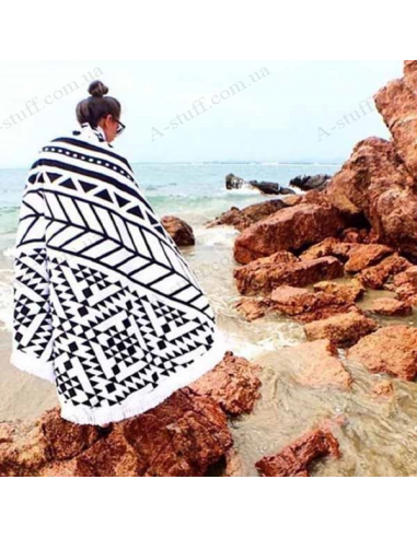 "Beach mat black ""Mandala"""