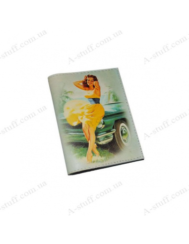 "Cover for passport leather ""Auto Lady Pin Up"""