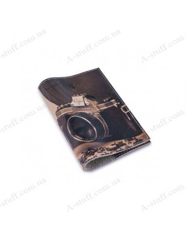 """Обкладинка для паспорта шкіра """"Будні фотографа"""""""