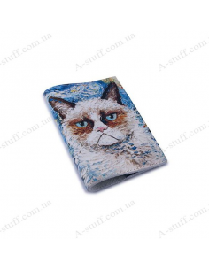 """Cover for passport leather """"Cat Van Gogh"""""""