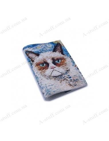 """Обкладинка для паспорта шкіра """"Кіт Ван Гог"""""""