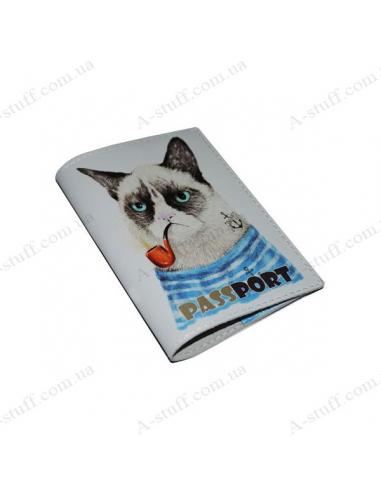 """Обкладинка для паспорта шкіра """"Незадоволений коте"""""""