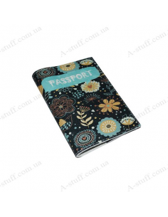 """Cover for passport leather """"Turquoise Flowers"""""""