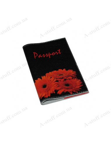"""Cover for passport leather """"Gerbera"""""""