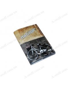 "Leather cover for the passport ""Bike Graffiti"""