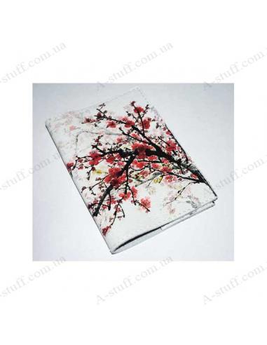 """Кожаная обложка на паспорт """"Сакура на снегу"""""""