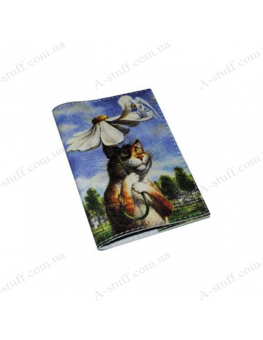"""Leather cover for the passport """"Cat under the umbrella"""""""
