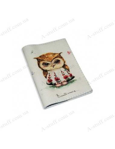 """Кожаная обложка на паспорт """"Любвеобильная сова"""""""