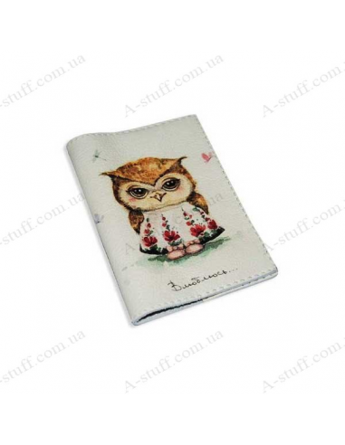 """Leather cover for the passport """"A loving owl"""""""