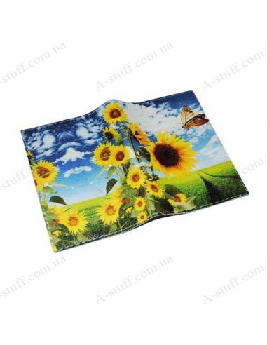 """Leather cover for the passport """"Sunflower and butterfly"""""""