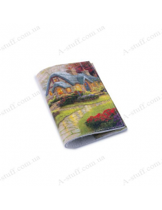"""Leather cover for the passport """"Fairy-tale yard"""""""