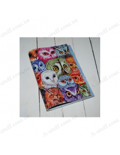 """Leather cover for the passport """"Colored owls"""""""