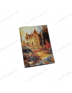 "Leather cover for the passport ""Autumn Castle"""