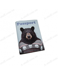 "Leather cover for the passport ""Bear in a sweater"""