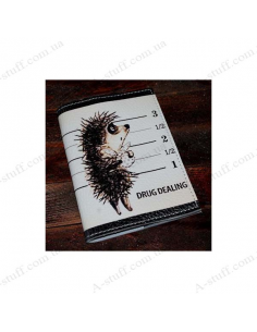 """Leather cover for the passport """"Hedgehog and a bag"""""""