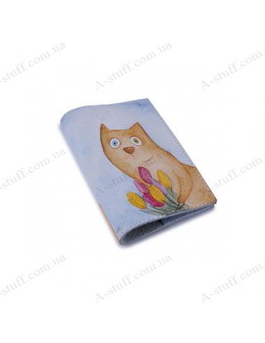 """Шкіряна обкладинка на паспорт """"Кіт з тюльпанами"""""""