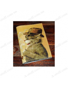 """Leather cover for the passport """"Cat in the Hat"""""""
