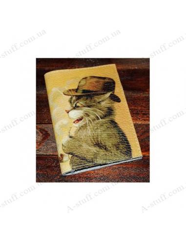 """Шкіряна обкладинка на паспорт """"Кіт у капелюсі"""""""