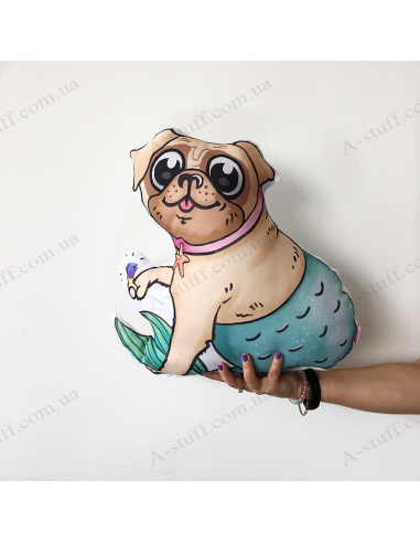 "Original pillow ""Pug Mermaid"""
