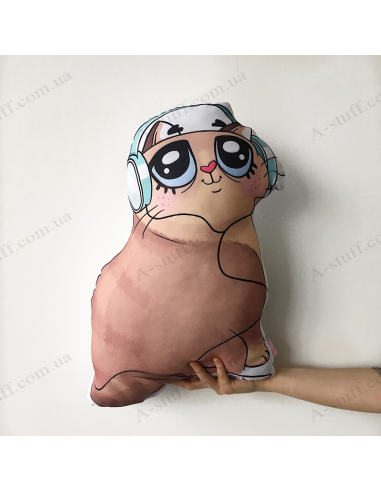 "Original pillow ""Cat in the headphones"""