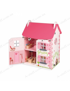 Janod doll house with furniture
