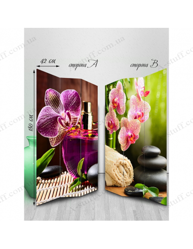 """Double-sided folding screen """"Orchid 3"""""""