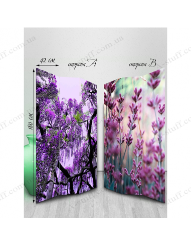 """Double-sided folding screen """"Flowers of violet shades"""""""