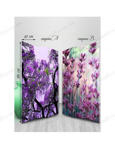 "Ширма двухсторонняя ""Flowers of violet shades"""
