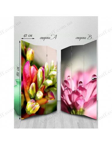 "Double-sided folding screen ""Artificial flower"""