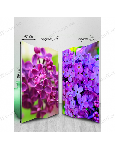 "Double-sided folding screen ""Lilac"""