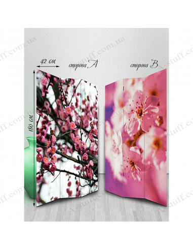 "Double-sided folding screen ""Flowers of spring mood"""
