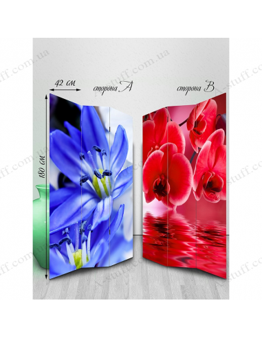 "Double-sided folding screen ""A variety of flowers"""