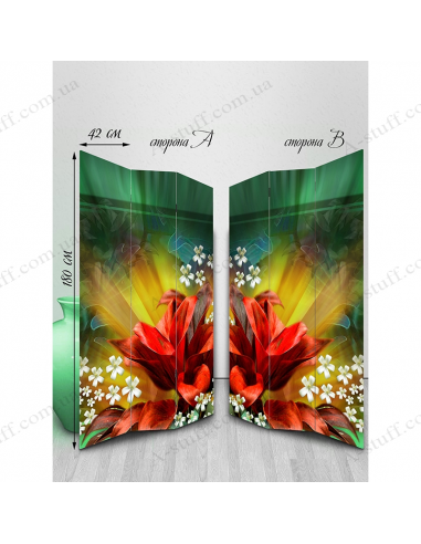 "Double-sided folding screen ""Abstract floral bloom"""