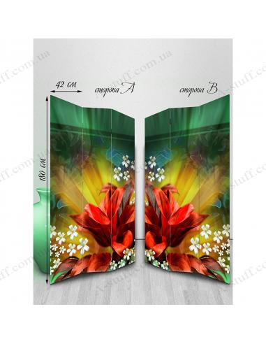 "Ширма двостороння ""Abstract floral bloom"""