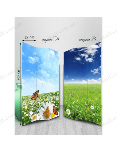 "Double-sided folding screen ""Chamomile and butterflies"""