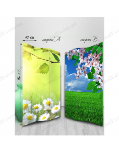 """Double-sided folding screen """"Chamomile and cherry"""""""