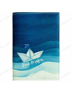 """Passport cover """"Time to relax boat"""""""