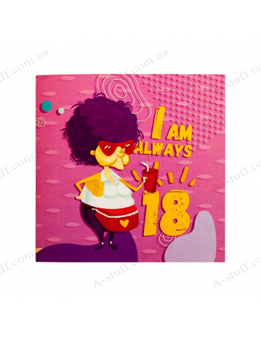 "Postcard with chocolate ""I am always 18"""