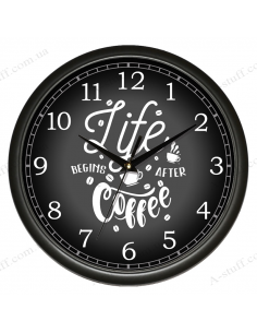 """Wall clock """"Life begins after coffee"""""""