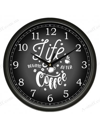 "Настінний годинник ""Life begins after coffee"""