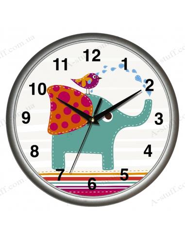 """Настінний годинник """"Слон і пташка"""""""