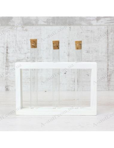 """Набор для специй """"3 пробирки"""" на деревянной подставке (белый)"""