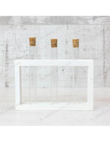 """Set for spices """"3 tubes"""" on a wooden stand (white)"""