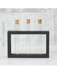 """Набор для специй """"3 пробирки"""" на деревянной подставке (чёрный)"""