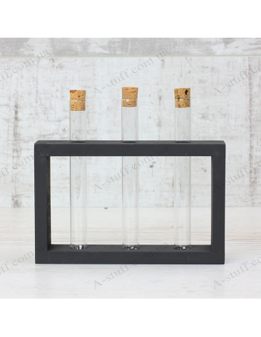 """Set for spices """"3 tubes"""" on a wooden stand (black)"""