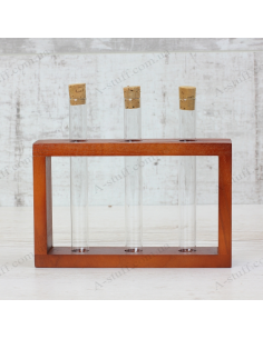 """Set for spices """"3 tubes"""" on a wooden stand (cherry)"""
