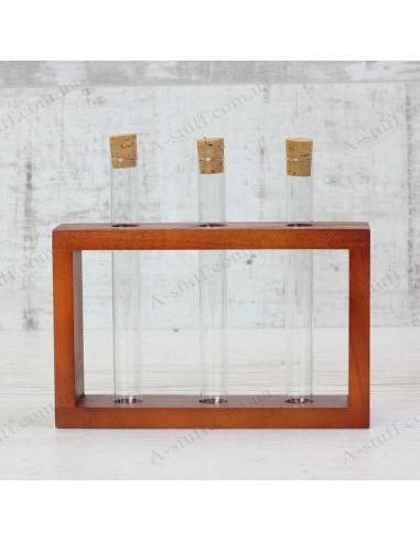 """Набір для спецій """"3 пробірки"""" на дерев'яній підставці (вишня)"""