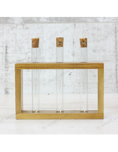 """Set for spices """"3 tubes"""" on a wooden stand (nut)"""